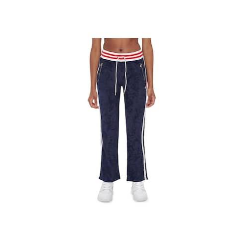 Champion Women's Slim Varsity-Stripe Warm-Up Pants, Navy, S