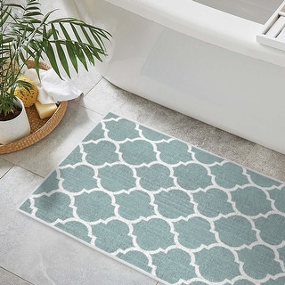 Shop For Bathroom Rugs 3 Piece Set Non Slip Ultra Thin Bath Rugs For Bathroom Floor Washable Cotton Bathroom Mats Set Geometric Get Free Delivery On Everything At Overstock Your Online Bath Linens Store Get 5 In Rewards With Club O