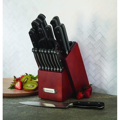 Farberware 21 Piece Forged Triple Rivet Knife Set with Built-in Edgekeeper Knife Sharpener