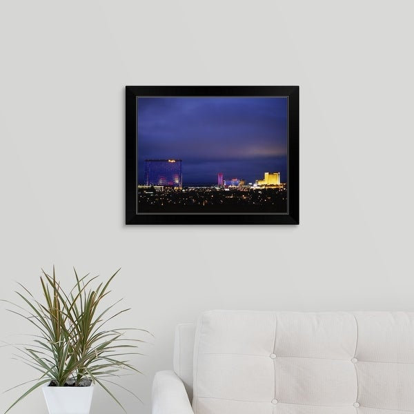 """Buildings lit up at night in a city, Atlantic City, New Jersey"" Black Framed Print"