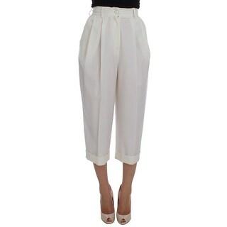Dolce & Gabbana Dolce & Gabbana White Dress Wool Capri High Waist Pants - it40-s