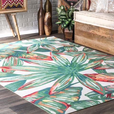nuLOOM Multi Indoor/Outdoor Contemporary Tropical Majestic Floral Bloom Area Rug