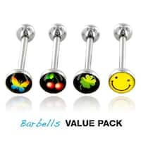 "4 Pcs Pack of Assorted Logo Surgical Steel Barbell with Logo Ball - 14 GA - 5/8"" Long (7mm Ball)"