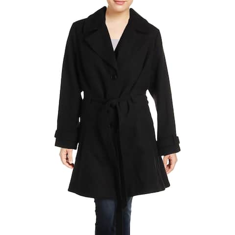 City Chic Womens Plus Pea Coat Long Collared