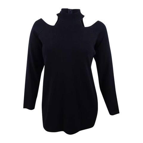 City Chic Women's Plus Size Mock-Neck Cold-Shoulder Sweater (M/18W, Black) - Black - M/18W