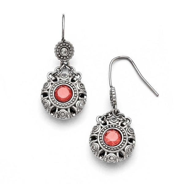 Chisel Stainless Steel Polished Red and Clear CZ Circle Earrings