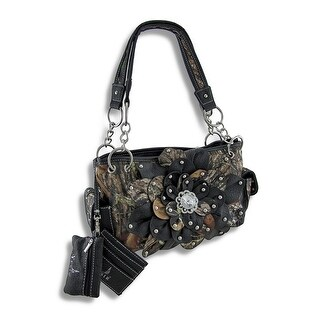 Mossy Oak Camo Concealed Carry Purse with Flower and Mock Crock Trim
