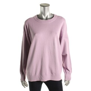 DKNY Womens Long Sleeves Ribbed Trim Pullover Sweater