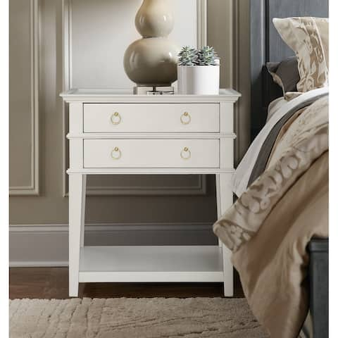 Collette White 2-Drawer Tray Top Nightstand by Greyson Living