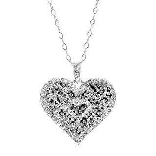 Crystaluxe Double Heart Filigree Pendant with Swarovski Crystals in Sterling Silver - White