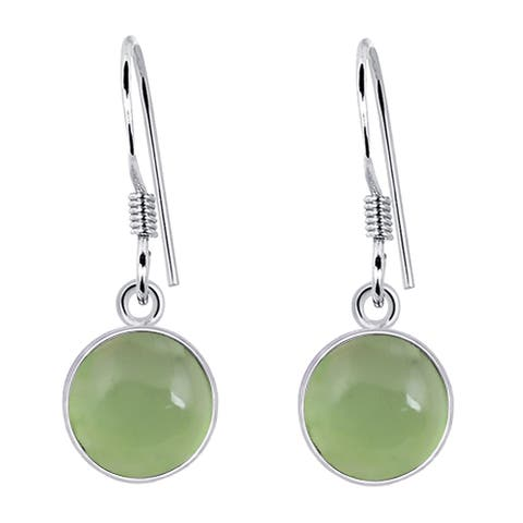 Chalcedony Sterling Silver Round Dangle Earrings by Orchid Jewelry