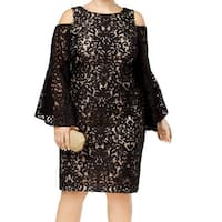 Xscape Black Beige Womens Size 22W Plus Bell Sleeve Sheath Dress