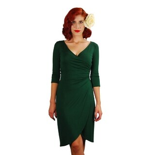 Mythereal Womens Forest Green Solid Color V Neckline Wrap Style Dress S-XL