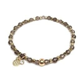 Grey Smoky Quartz 'Friendship' Stretch Bracelet, 14k over Sterling Silver