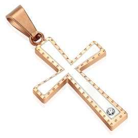 Two Tone Rose Gold IP Cross Stainless Steel Pendant (21 mm Width)