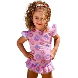 Sun Emporium Baby Girls Carnation Pink Boho Print Sun Shirt Bikini Set