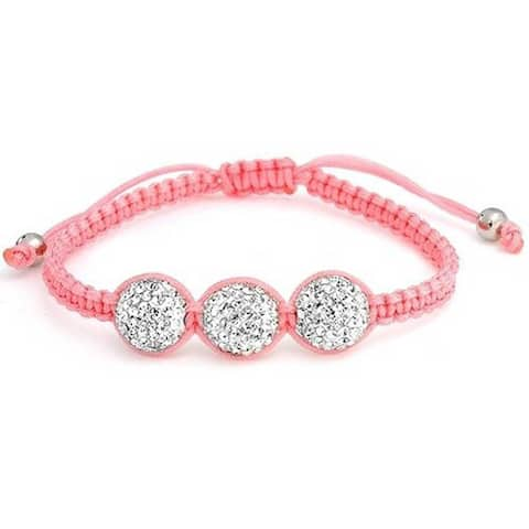 White Pave Crystal Ball Shamballa Inspired Bracelet Small Wrist For Women Pink Cord String Adjustable