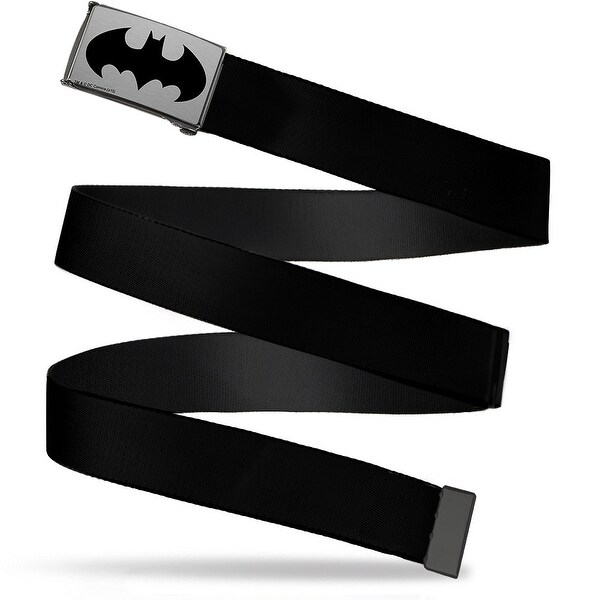 Batman Brushed Silver Black Cam Black Webbing Web Belt