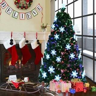 Costway 7' Pre-Lit Fiber Optic Artificial Christmas Tree w/Multi-Color Lights Snowflakes - 7Ft
