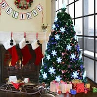 Costway 7' Pre-Lit Fiber Optic Artificial Christmas Tree w/Multi-Color Lights Snowflakes
