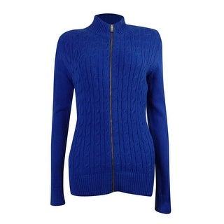 Charter Club Women's Cable Knit Zipper Cardigan Sweater