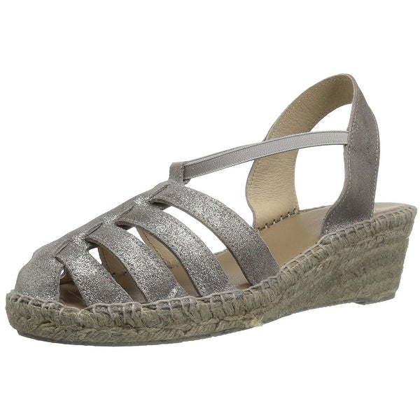 André Assous Womens Desi Suede Closed Toe Casual Espadrille Sandals - Pewter
