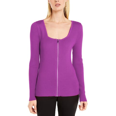 INC International Concepts Women's Square Neck Zip-Front Sweater Size Extra Large