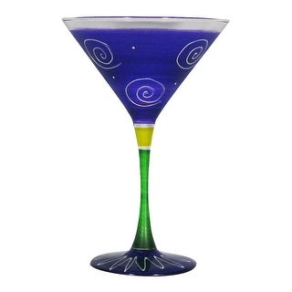 Set of 2 Purple & White Hand Painted Martini Drinking Glasses - 7.5 Ounces