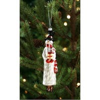 Club Pack of 12 Decorative and Festive Tall Snowman Figure Glass Ornament 4""