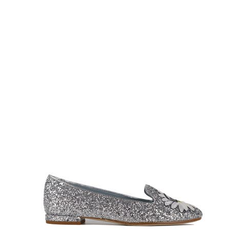 Chiara Ferragni Womens Silver Leather Glitter Flirting Slippers