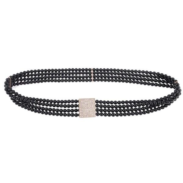 Lady Beads String Detail Elastic Dress Cinch Belt Waistband Waist Chain - Black