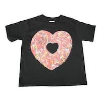 Little Girls Black Multi Color Heart Donut Print Short Sleeve T-Shirt