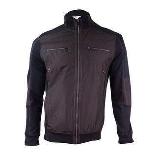 Calvin Klein Men's Solid Zippered Jacket - Black