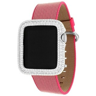 Custom Apple Watch Pink Nylon Woven Strap Lab Diamond Bezel 38mm Touch