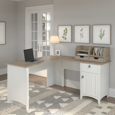 Salinas L Shaped Desk with Storage and Organizers by Bush Furniture