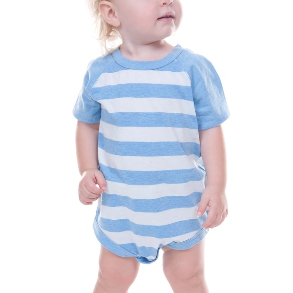 Kavio! Unisex Infants Striped Jersey Crew Neck Raglan Short Sleeve Bodysuit Striped Heather
