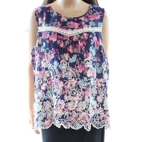 b283078fa60251 Shop Cupio NEW Blue Pink Womens Size 1X Plus Embroidered Floral Tank Top -  Free Shipping On Orders Over  45 - Overstock.com - 20044786