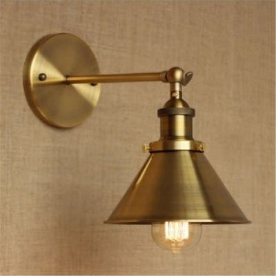 Brass Wall Sconce with Metal Cone Shade