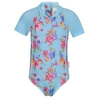 Sun Emporium Girls Blue Pink Floral Print Short Sleeve Surf Suit