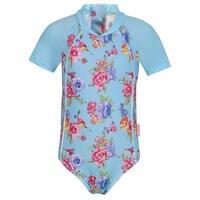 Sun Emporium Little Girls Blue Pink Floral Print Short Sleeve Surf Suit
