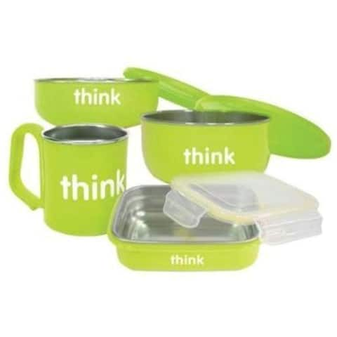 Thinkbaby Feeding Set - BPA Free - Green Bowls and Utensils