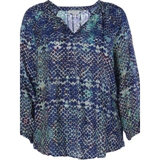 Beach Lunch Lounge Womens Plus Pullover Top Beaded Printed