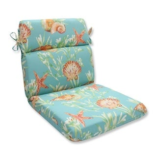 "40.5"" Blue and Salmon Tropical Island Outdoor Patio Rounded Chair Cushion"