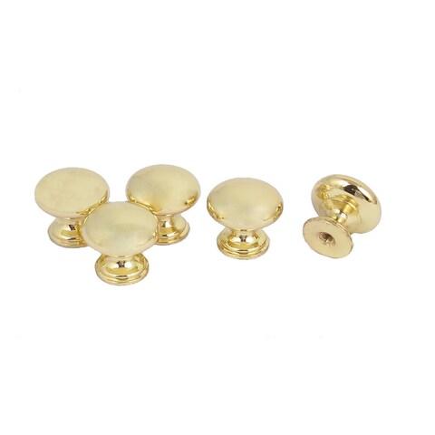 5pcs 25mm x 22mm Metal Round Pull Knob Gold Tone for Dresser Drawer