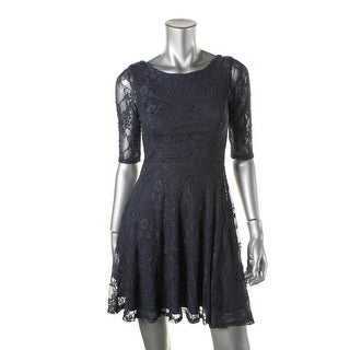 Speechless Womens Juniors Lace Elbow Sleeves Cocktail Dress - 5