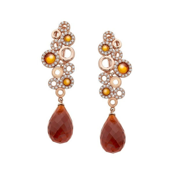 Cristina Sabatini Sanremo Earrings with Cubic Zirconia in 18K Pink Gold-Plated Sterling Silver - White