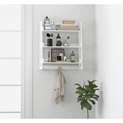 UTEX 3 Tier Bathroom Shelf Wall Mounted with Towel Hooks, Bathroom Organizer Shelf Over The Toilet