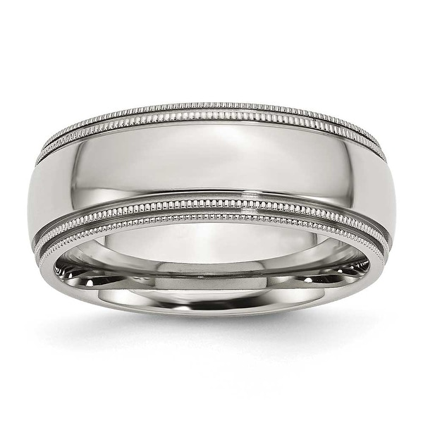 Stainless Steel Grooved and Beaded 8mm Polished Band