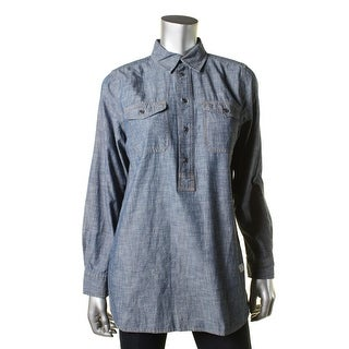Lauren Ralph Lauren Womens Tunic Top Chambray Long Sleeves