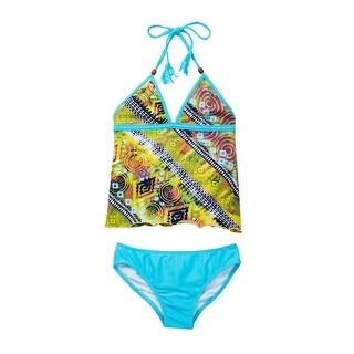 Azul Little Girls Yellow Native Threads Tassel Open Tankini 2 Pc Swimsuit